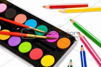 Paints and color pencils