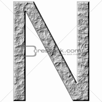 3D Stone Letter N