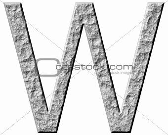 3D Stone Letter W