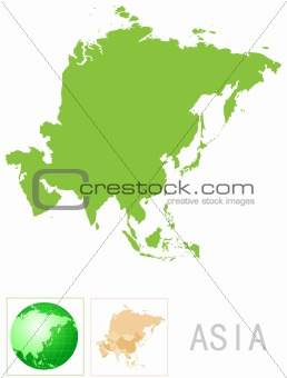 Asia map and icon