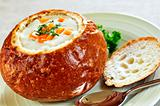 Soup in bread bowl