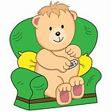 Bear Sat in Armchair Cartoon