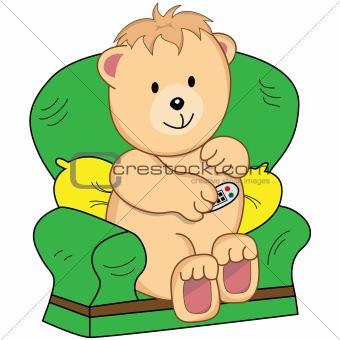 Bear Sat in Armchair Cartoon