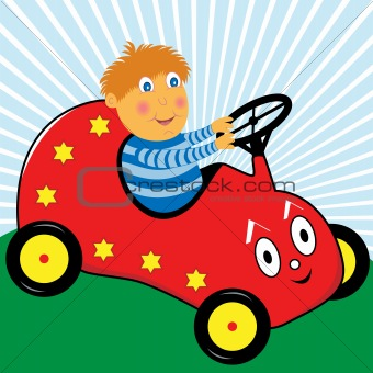 Boy Driving Toy Pedal Car