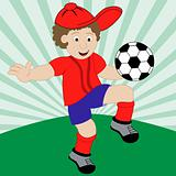 Cartoon Child Playing Football