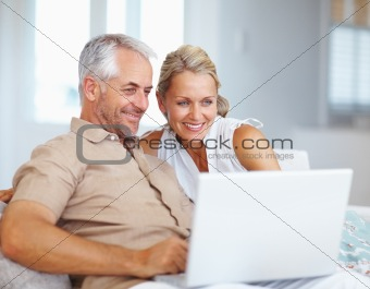 Happy and cheerful senior couple working on laptop