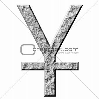 3D Stone Yen Symbol