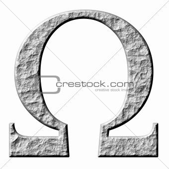 3D Stone Greek Letter Omega