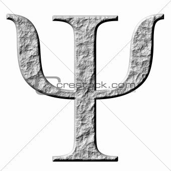 3D Stone Greek Letter Psi