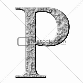 3D Stone Greek Letter Rho