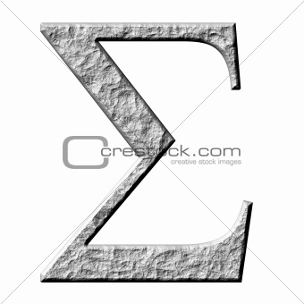 3D Stone Greek Letter Sigma
