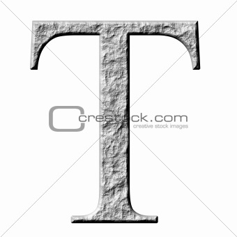 3D Stone Greek Letter Tau