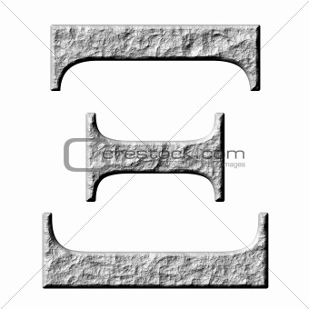3D Stone Greek Letter Xi