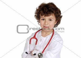 Adorable boy with clothes of doctor