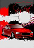 Cover for brochure with car images. Vector illustration