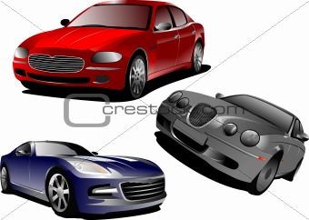 Three cars. Sedan. Vector illustration