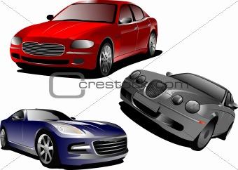 Three cars. Sedan. Vector illustration