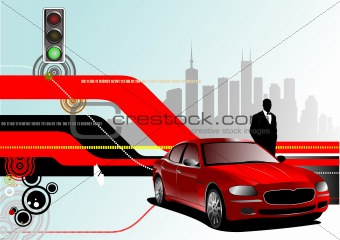 Abstract hi-tech background with car image. Vector