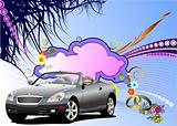 Grunge floral greeting wedding card with car image. Vector