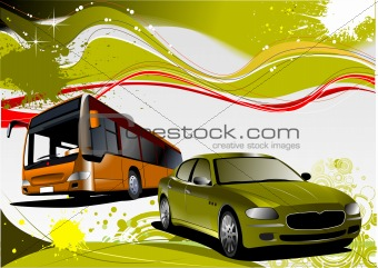 Green and Yellow grunge background with bus and car images. Vect