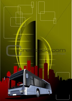 Abstract urban modern composition with bus image. Vector