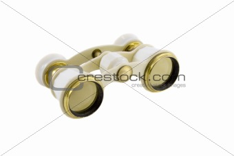 Old opera glasses isolated over white background