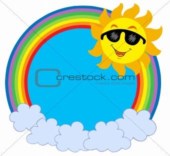 Cartoon Sun with sunglasses in raibow circle