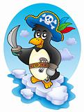 Pirate penguin on iceberg