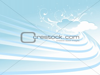 waves and cloud with blue background
