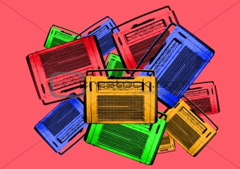 old colorful vintage retro radios