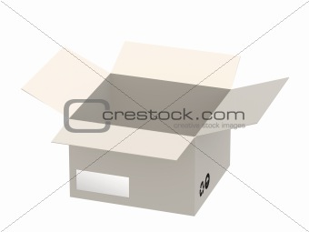 3d open empty cardboard box