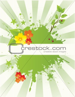 green mosaic background with copy space, vector illustration