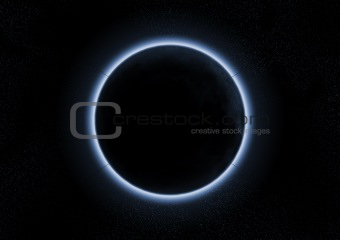 a solar eclipse with the moon