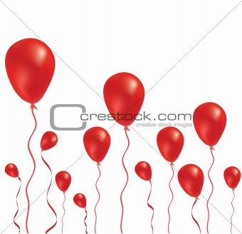 Beautiful red balloon in the air. Vector illustration.