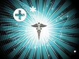 shiny rays background with medical sign
