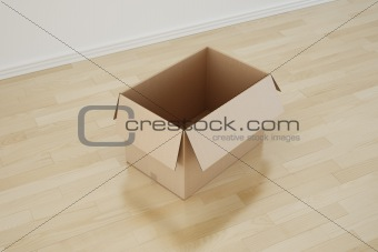 Cardboard box in empty room