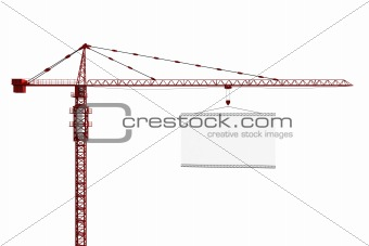 Tower crane with empty sign