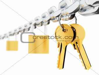 Chain locks and keys