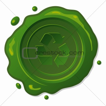 Green wax seal with recycle symbol