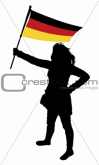 woman holding a flag of germany, vector silhouette