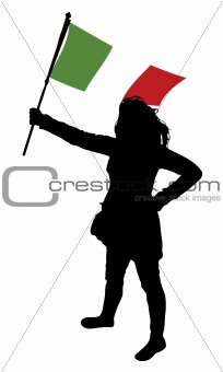 woman holding a flag of italy, vector silhouette