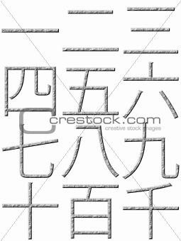 3D Stone Chinese Numbers
