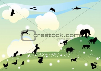 Countryside with animal silhouettes