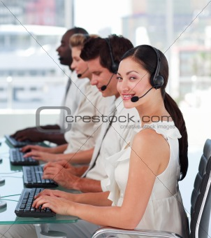 Attractive woman smiling on headset