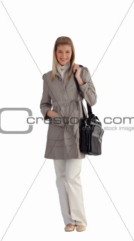 Attractive businesswoman with Travel bag