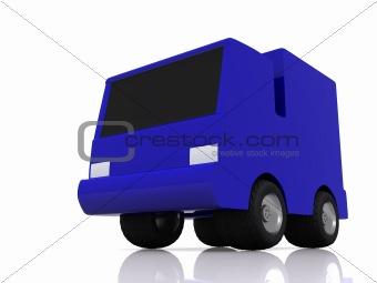 single blue car. 3D