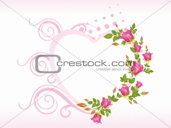 abstract decorated pink heart shape frames