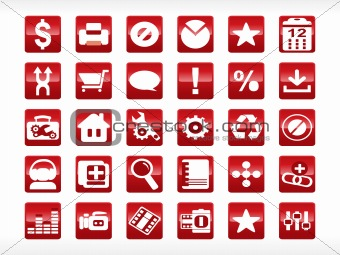 abstract web icon series set, red