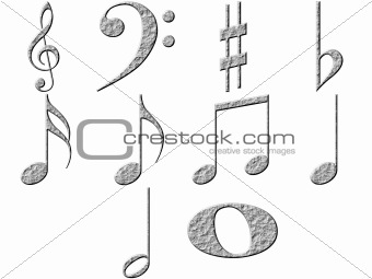 3D Stone Music Notes