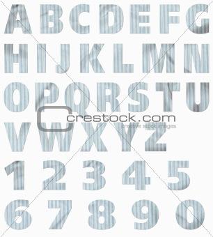 Material Alphabet:  Blue Stripes